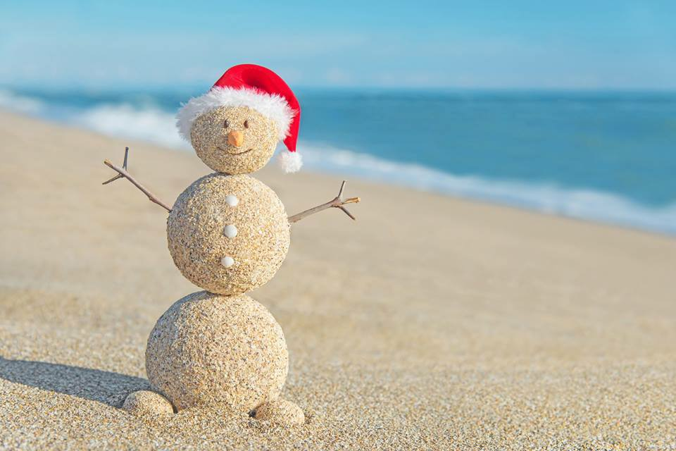 winter vacation beach snowman