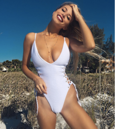 Blue Life White Jacquard Roped Up One Piece | http://bit.ly/2hSEnQw