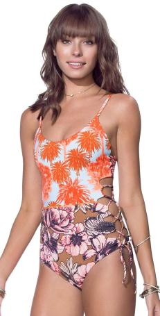 South Beach Swimsuits Maaji Tangerine Screenplay Say Cheese Lace Up One Piece